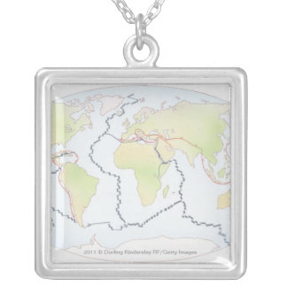 World map showing plate margins square pendant necklace
