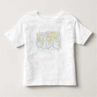 World map showing plate margins toddler t-shirt