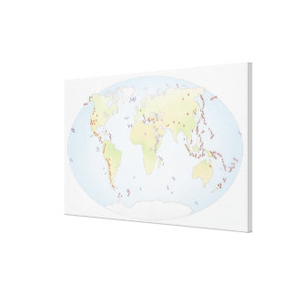 World map showing sites of volcanic activity canvas print
