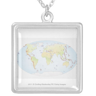 World map showing sites of volcanic activity pendant