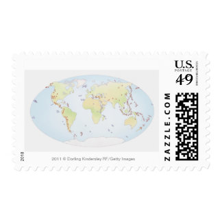 World map showing sites of volcanic activity stamp