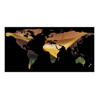 World Map Silhouette - Cheeseburger Poster