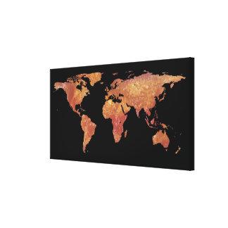 World Map Silhouette - Crispy Bacon Canvas Print