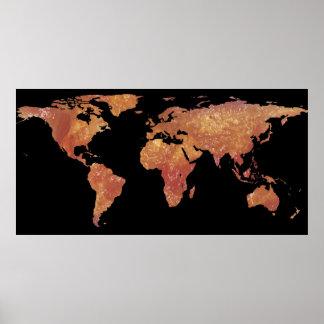 World Map Silhouette - Crispy Bacon Poster