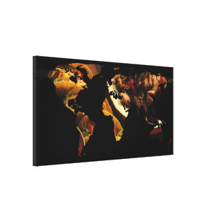 World Map Silhouette - Mexican Food Canvas Print