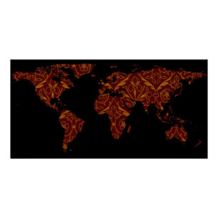 Creative world map posters zazzle world map silhouette orange red floral patten poster gumiabroncs Image collections