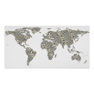 World Map Pattern Posters Photo Prints Zazzle - World map silhouette poster