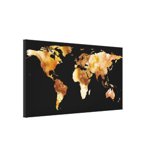 World Map Silhouette - Sausage Pizza Canvas Print