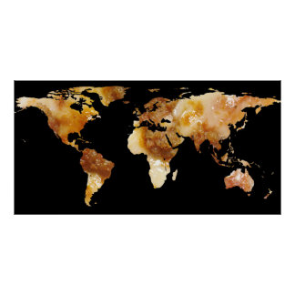 World Map Silhouette - Sausage Pizza Poster