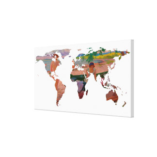 World Map Silhouette - Undressing at The Beach Canvas Print