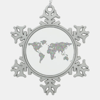 World map snowflake pewter christmas ornament