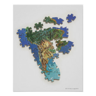 World Map, South America 2 Poster