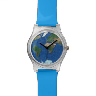 World Map Sphere 1: Europe Asia America - blue Wristwatches