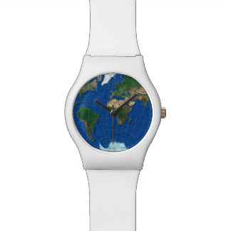 World Map Sphere 1: Europe Asia America - white Watch