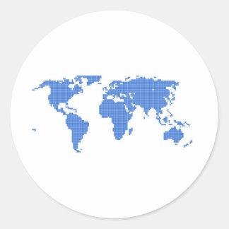 World Map Round Stickers