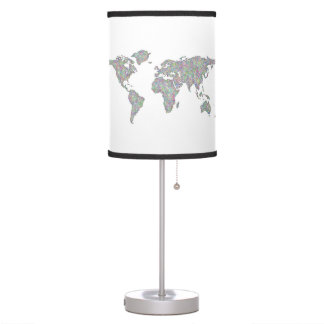 World map table lamp