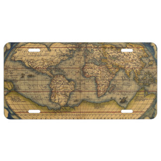 World map Theatrum Orbis Ancient Travel License Plate