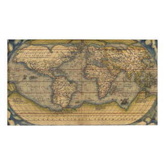 World map Theatrum Orbis Ancient Travel Name Tag