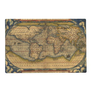 World map Theatrum Orbis Ancient Travel Placemat