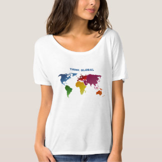 World Map Think Global T-Shirt