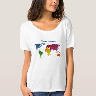 World Map Think Global T Shirt