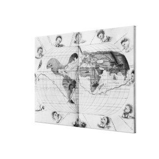 World map tracing Magellan's world voyage Canvas Print