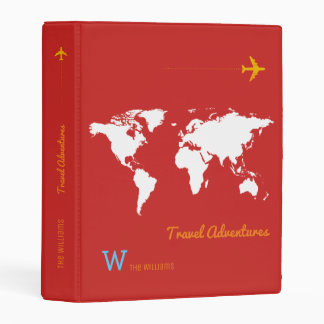 world map travel adventures personalized red mini binder