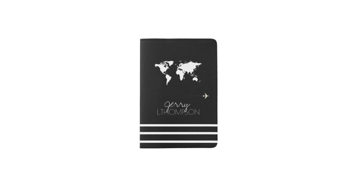 World map travel document black white passport holder zazzle gumiabroncs Image collections