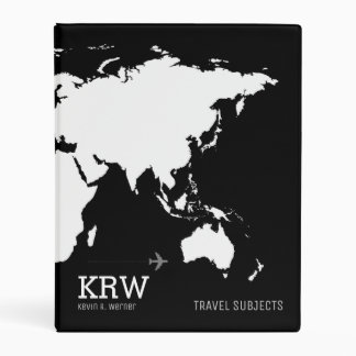 world-map travel subjects personalized black mini binder