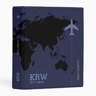 world map travel subjects personalized blue mini binder