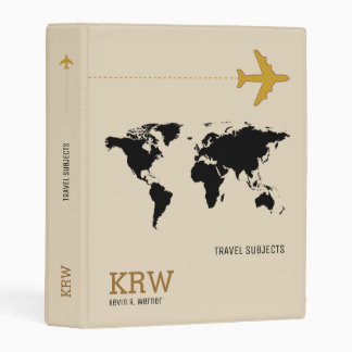 world map travel subjects personalized mini binder