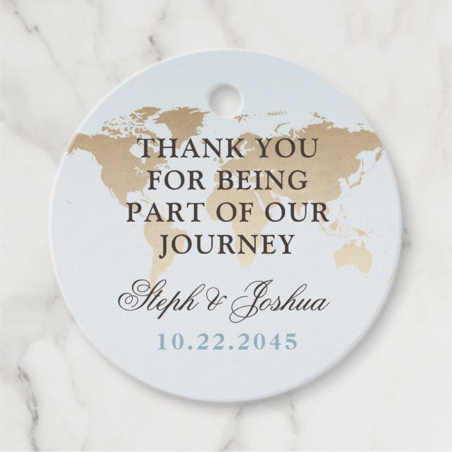World Map Travel Theme Wedding Party Favor Tags