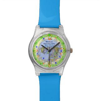 World Map Travel Time Zones Wristwatch
