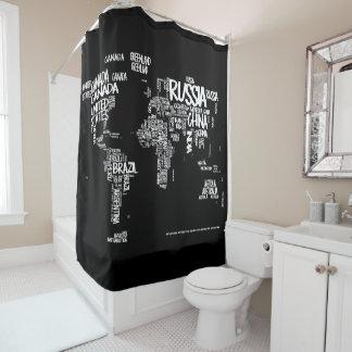 World Map Typography Shower Curtain, Black & White Shower Curtain