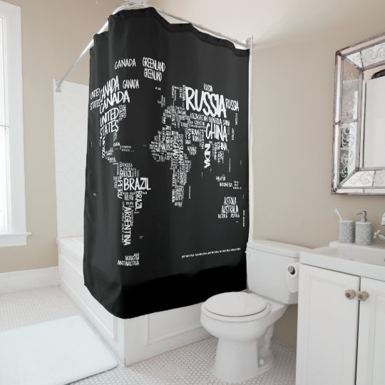 World Map Typography Shower Curtain, Black U0026 White Shower Curtain