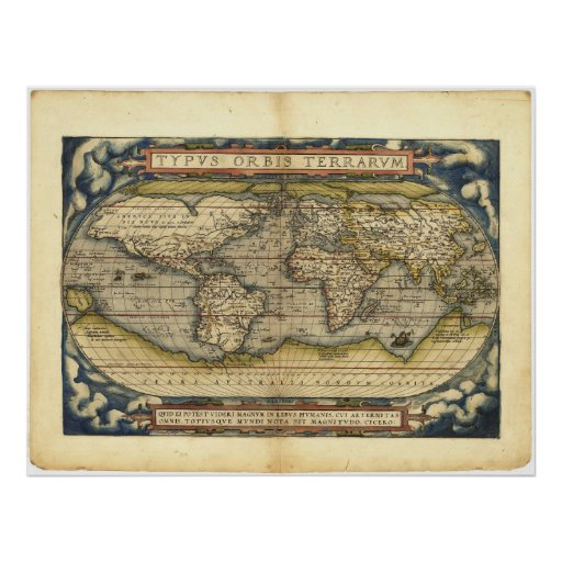 World map Typus Orbis Terrarum by Abraham Ortelius Poster