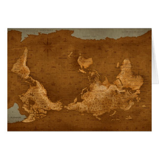 World Map - Upside Down Greeting Card