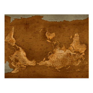World Map - Upside Down Postcard