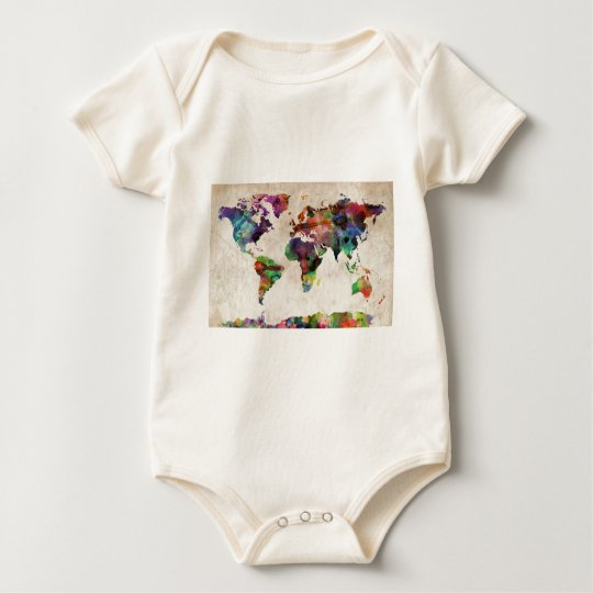World Map Urban Watercolor Baby Bodysuit