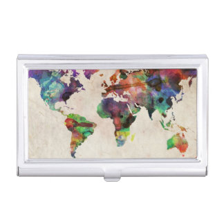 World Map Urban Watercolor Business Card Holder