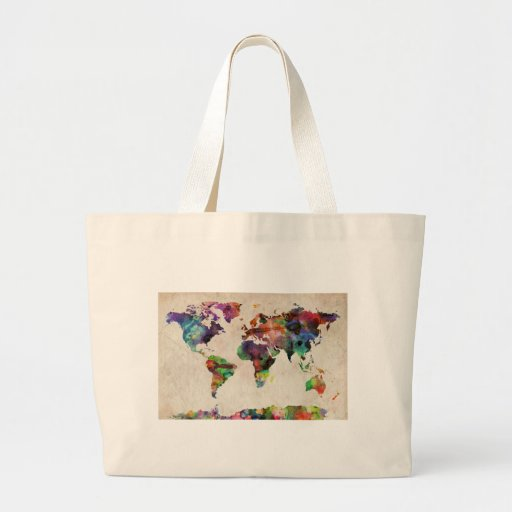 World Map Urban Watercolor Canvas Bags