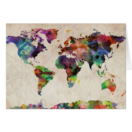 World Map Urban Watercolor Card