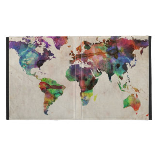 World Map Urban Watercolor iPad Folio Covers