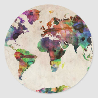 World Map Urban Watercolor Classic Round Sticker