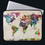 "World Map Urban Watercolor Computer Sleeve<br><div class=""desc"">A map of the world,  created from watercolor painting and digital manipulation.</div>"