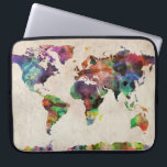 """World Map Urban Watercolor Computer Sleeve<br><div class=""""desc"""">A map of the world,  created from watercolor painting and digital manipulation.</div>"""