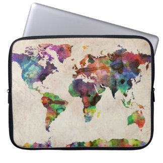 World Map Urban Watercolor Computer Sleeve