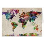 World Map Urban Watercolor Greeting Card