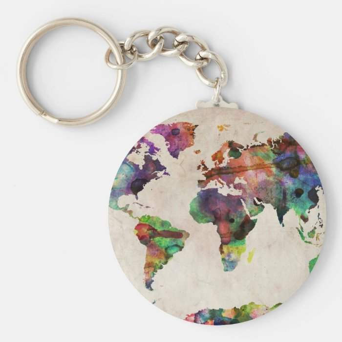 World Map Urban Watercolor Keychain