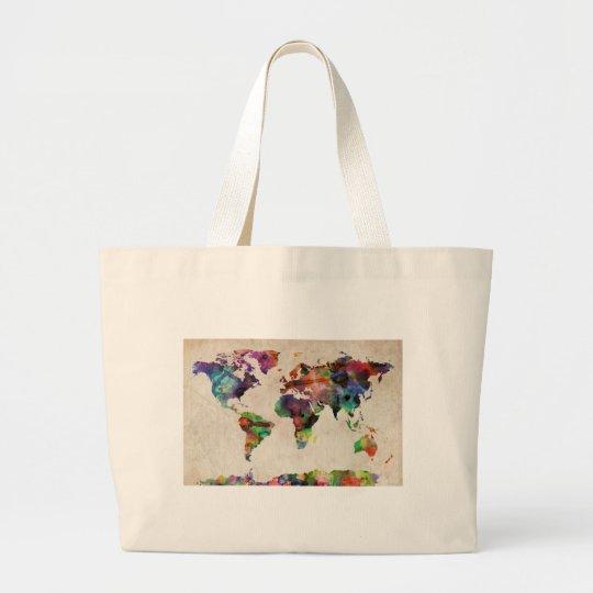 World Map Urban Watercolor Large Tote Bag